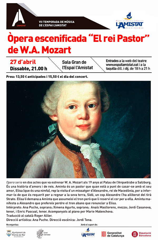 """Òpera escenificada """"El rei pastor"""" de W.A. Mozart"""
