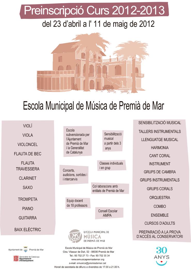 Inscripció Escola de Música curs 2012-2013