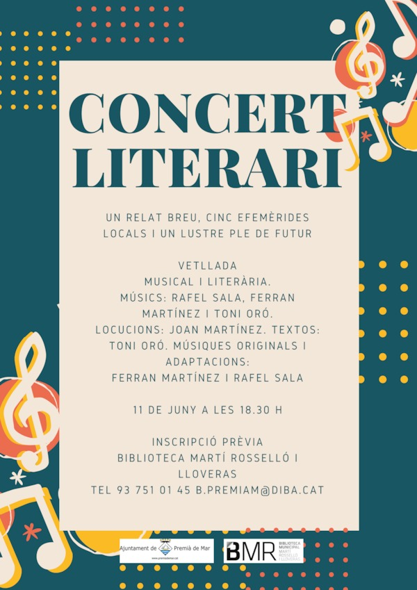 """Concert literari: """"Un relat breu, cinc efemèrides locals i un lustre ple de futur"""""""